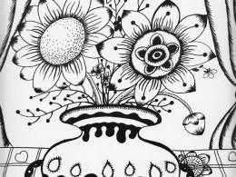 花瓶里的可爱花_线描画_黑白装饰画_儿童画_禅绕画_者