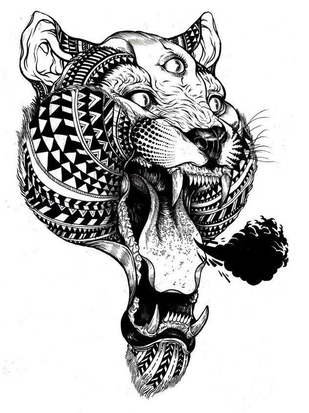 英格兰艺术家Iain Macarthur 动物黑白肖像插画欣赏,线描画
