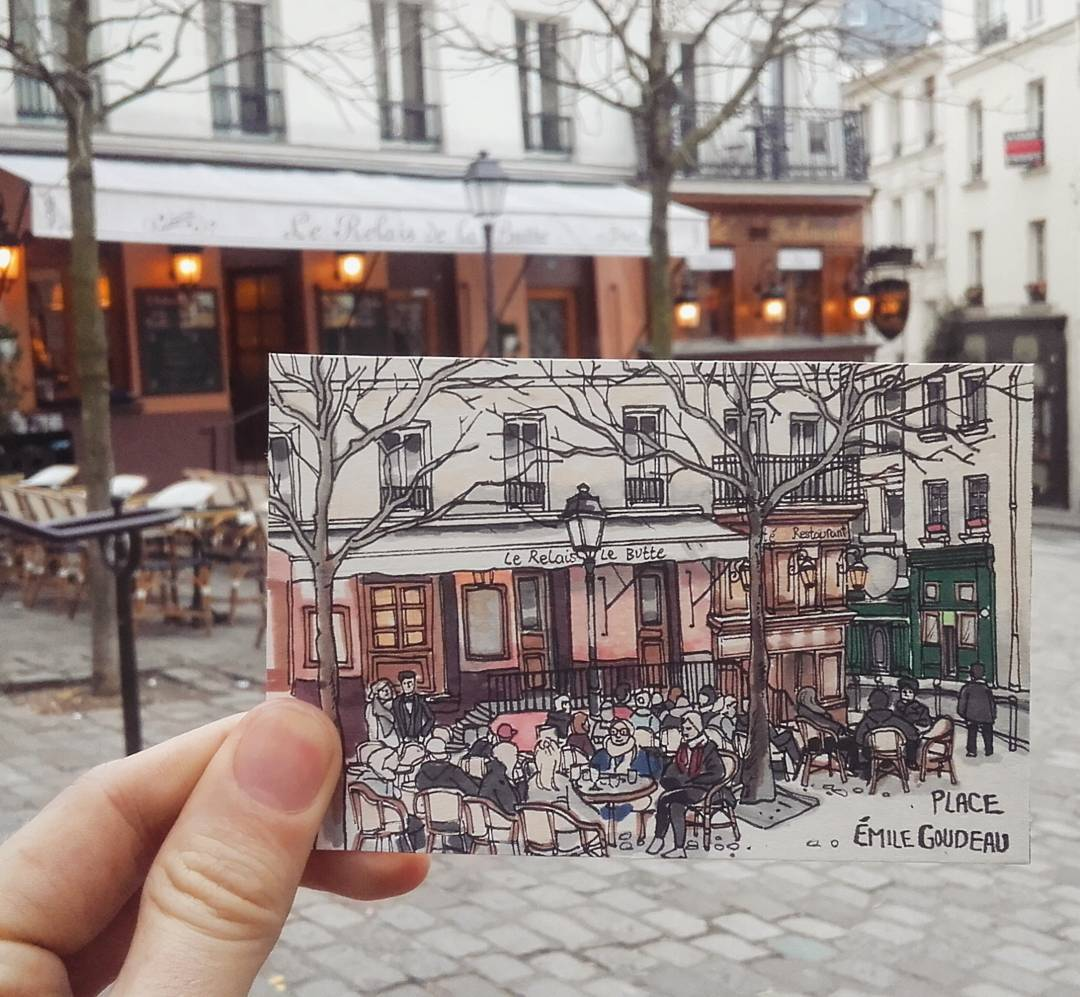 旅行画家用画笔记录城市的动人印记,线描画