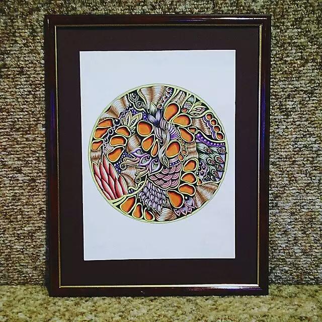 一组色彩徇烂的的禅绕纹案,线描画